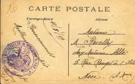 Rear of the card from 1919, Menton Allee des Palmiers. Intersting because of the lovely handwriting to a Nice address and also the stamp of the 'Bataillon de Chasseurs Alpins'.
