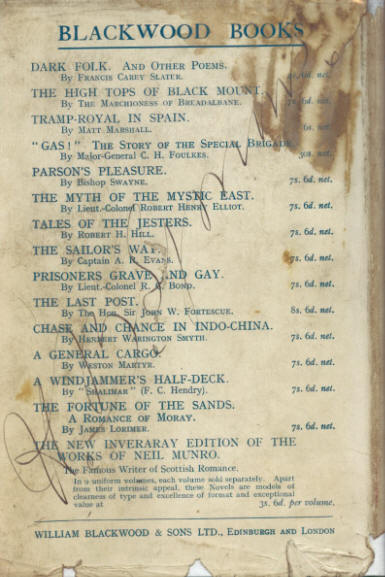 The rear cover of the first edition from 1935