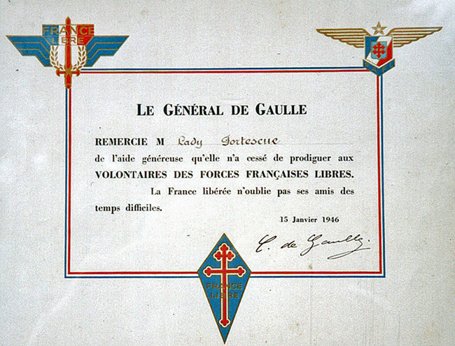 Certificate signed by General de Gaulle