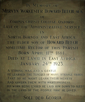 Memorial to Mervyn Beech - St Mary's Church, Great Bealings