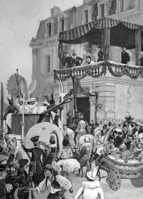 Grasse carnival passing the Grand Hotel 1891