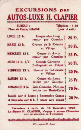 1928 Grasse taxi company advert