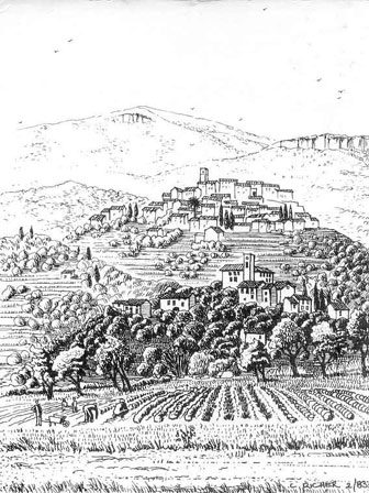 Posctcard sketch of Opio with Chateauneuf de Grasse above