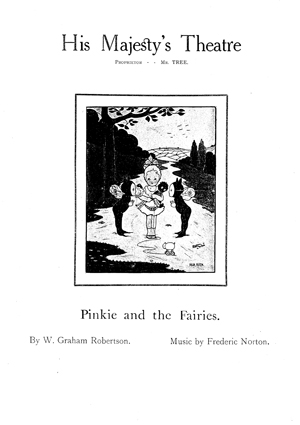Pinkie and the Fairies - 1908 first night programme - view the complete programme in pdf format
