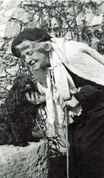 In later life with spaniel Gamine